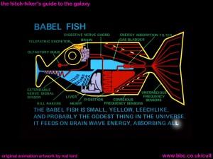 Douglas Adams' Babelfish - Illustration by Rod Lord